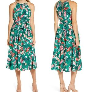 Eliza J Floral Belted Sleeveless Halter Maxi Dress